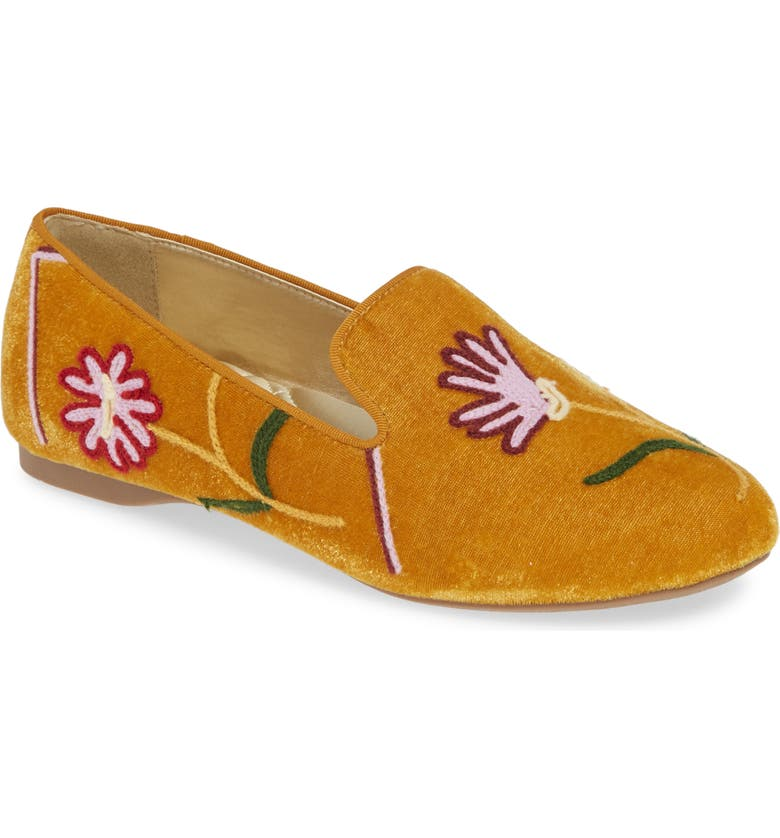 BIRDIES Starling Embroidered Flat, Main, color, SAFFRON FLORAL SUEDE