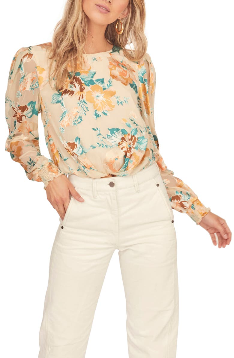 ASTR THE LABEL Muffy Floral Open Back Blouse, Main, color, CREAM JADE FLORAL