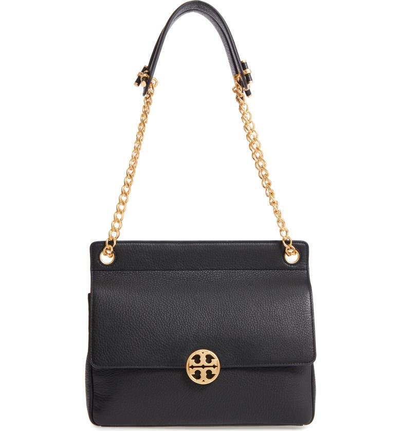 TORY BURCH Chelsea Flap Leather Shoulder Bag, Main, color, 001