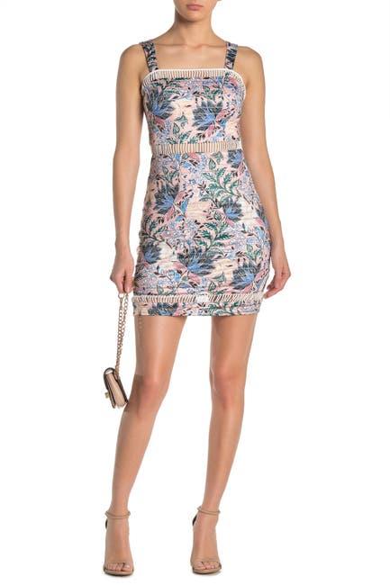 Image of GUESS Ladder Cutout Paisley Floral Mini Dress