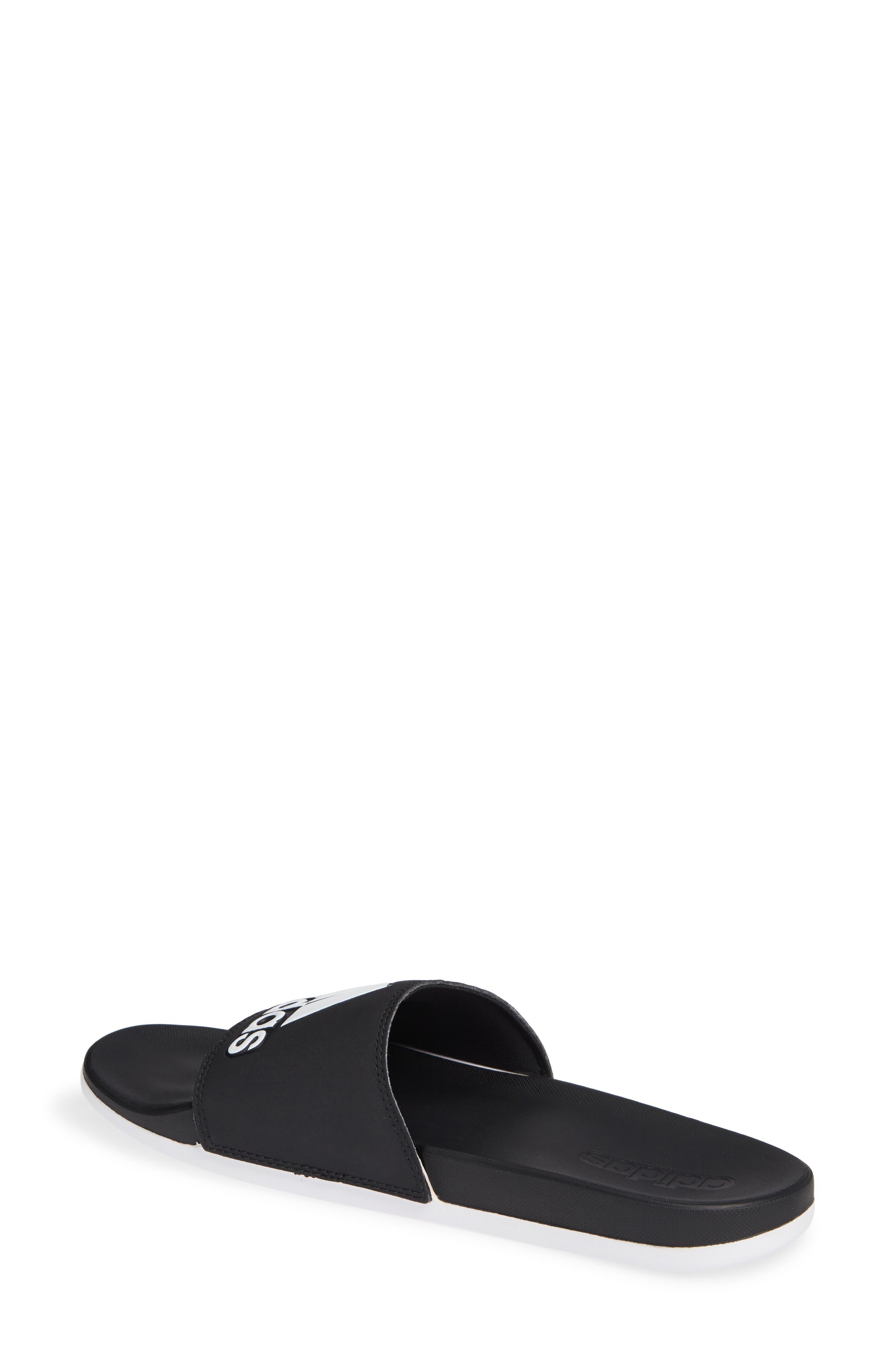 ,                             Adilette Comfort Slide Sandal,                             Alternate thumbnail 2, color,                             BLACK/ BLACK/ WHITE