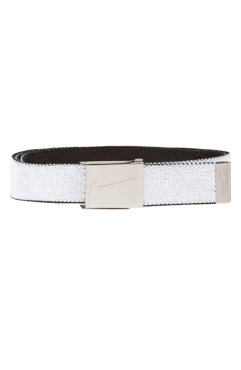 NIKE Reversible Web Belt, Main, color, WHITEBLACK