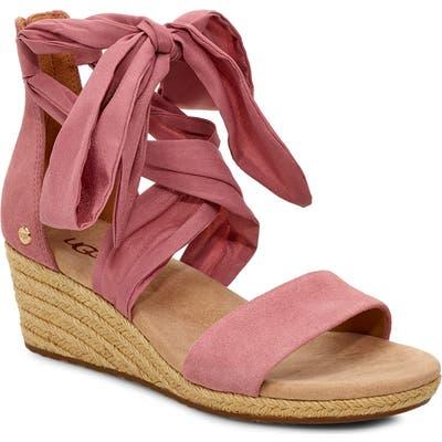 UGG Trina Ribbon Tie Wedge Sandal, Pink