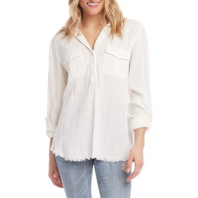 Karen Kane Cotton & Linen Shirt, White