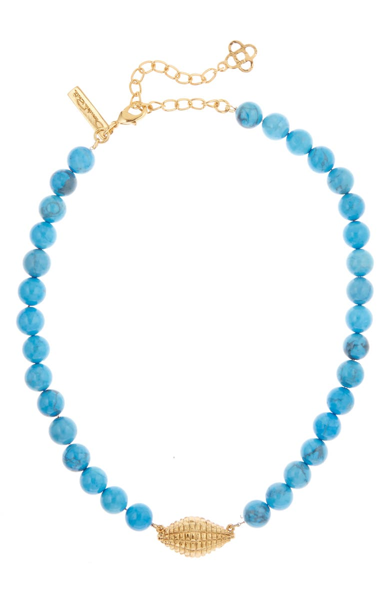 OSCAR DE LA RENTA Shell Charm Beaded Necklace, Main, color, TURQ HOWLITE