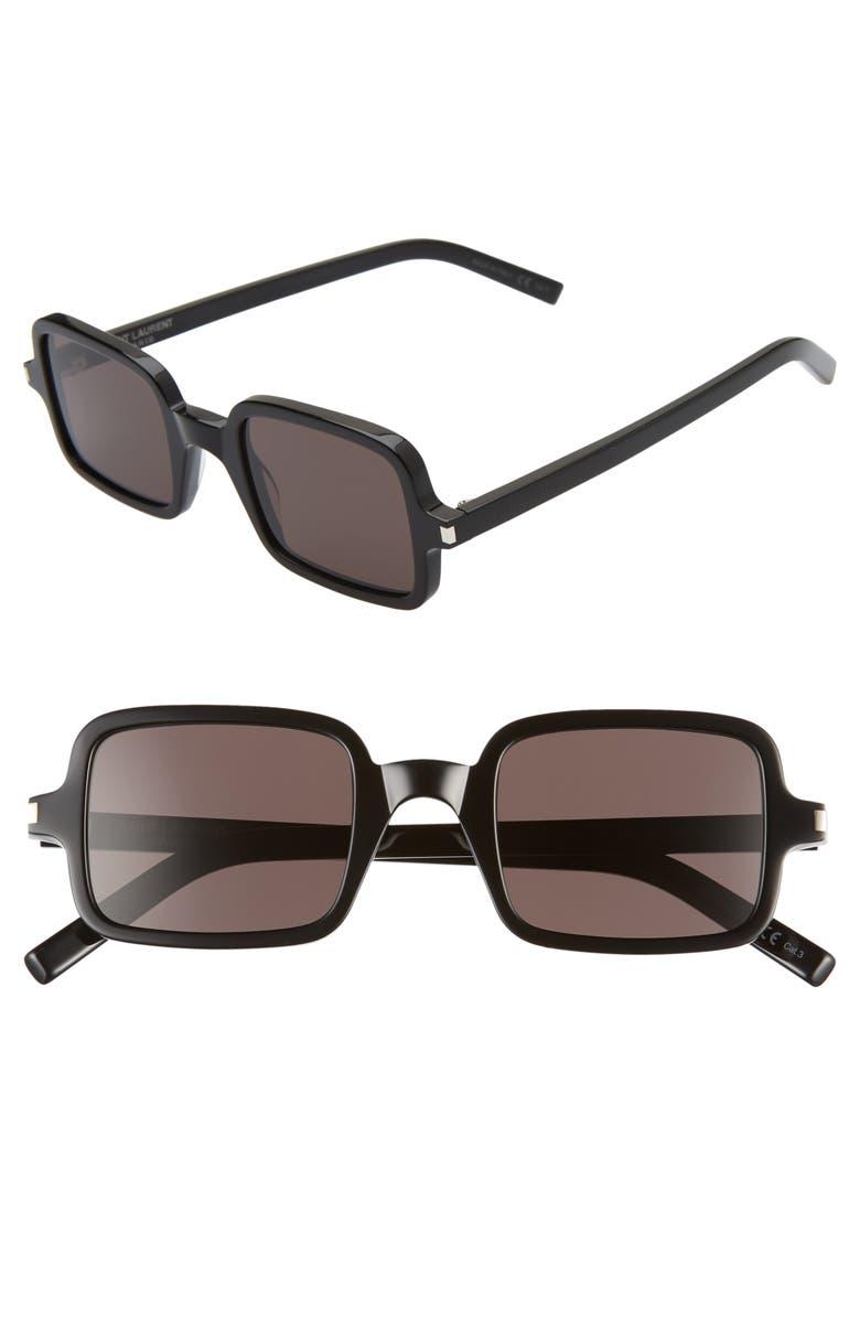 SAINT LAURENT 48mm Square Sunglasses, Main, color, BLACK