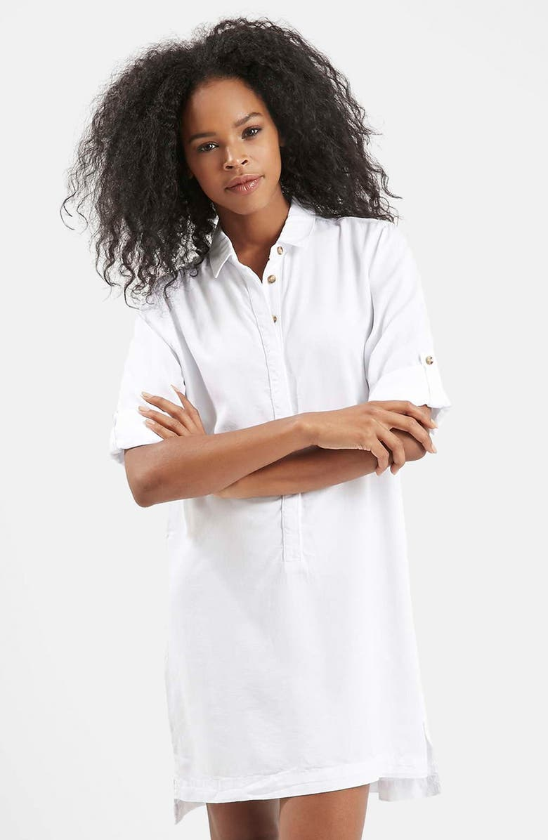 TOPSHOP Roll Sleeve Shirtdress, Main, color, 100