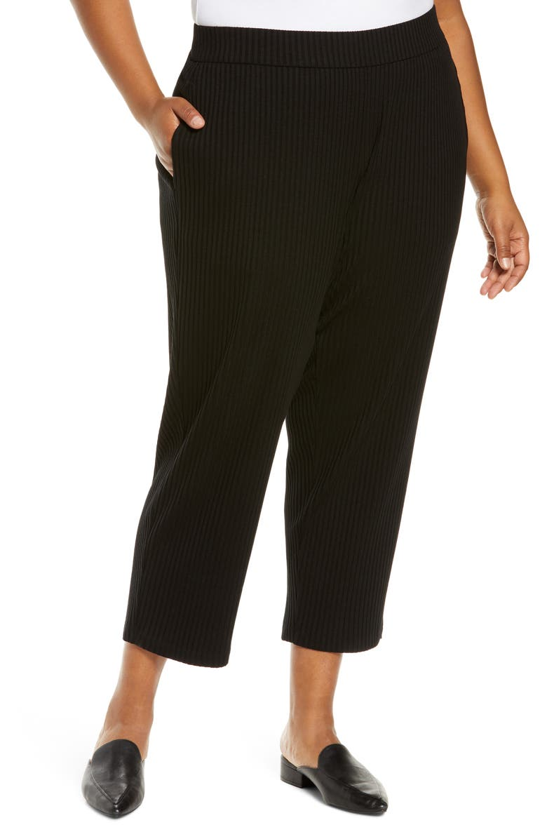 EILEEN FISHER Rib Tapered Ankle Pants, Main, color, BLACK