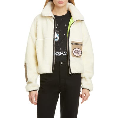 Sandy Liang Sarnie Crop Fleece Jacket, Ivory