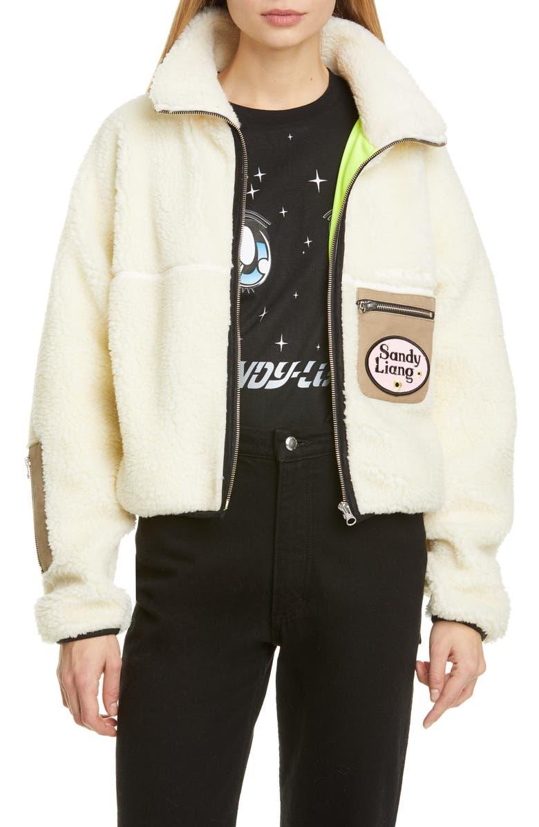 SANDY LIANG Sarnie Crop Fleece Jacket, Main, color, CREAM