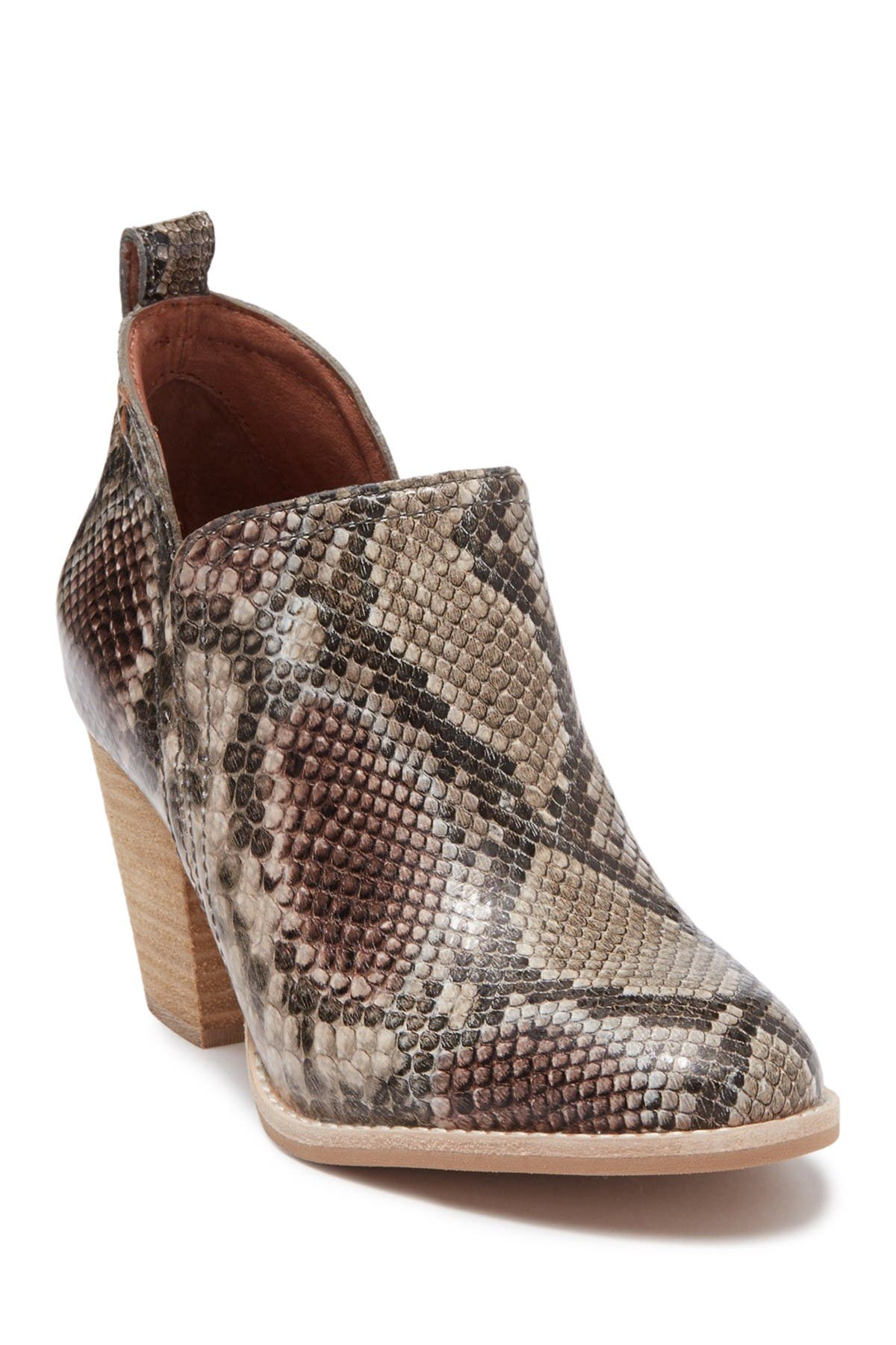 Image of Jeffrey Campbell Shark Snake-Embossed Leather Ankle Bootie
