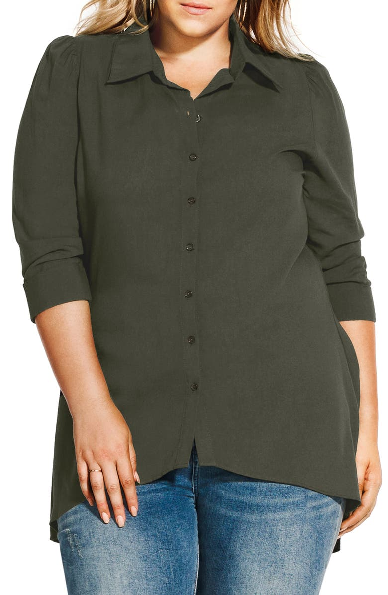 CITY CHIC Everyday High/Low Tunic Top, Main, color, MILITARY