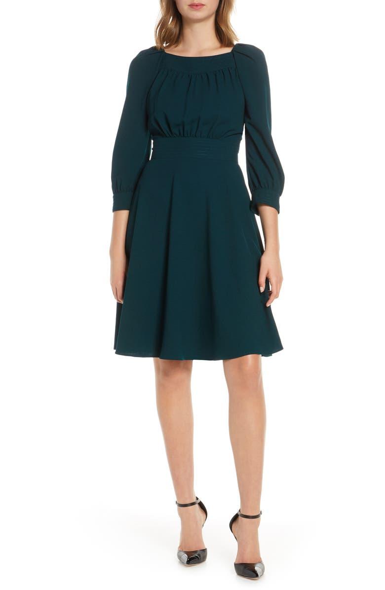 ELIZA J Fit & Flare Dress, Main, color, GREEN