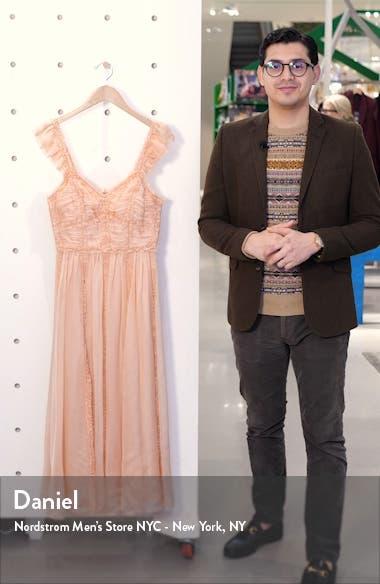 Florence Ruffle Trim Silk Midi Dress, sales video thumbnail