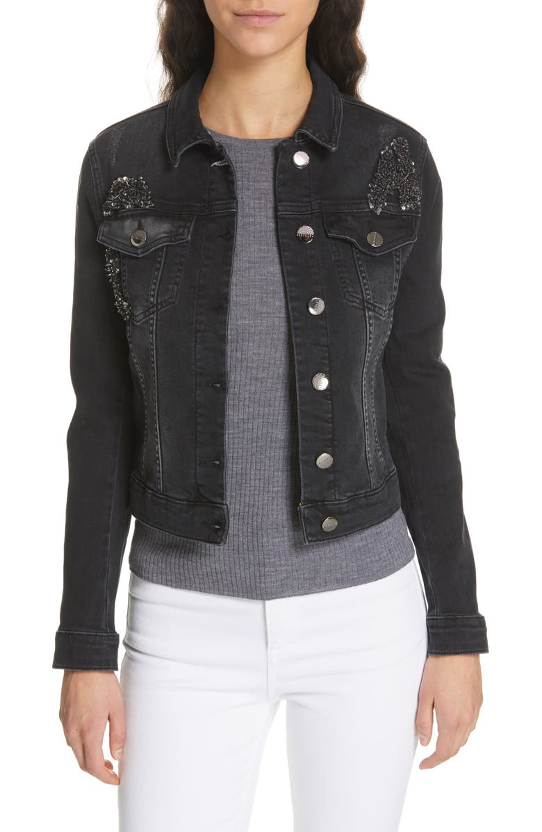 be289781e Ted Baker London Chinta Embellished Denim Jacket | Nordstrom