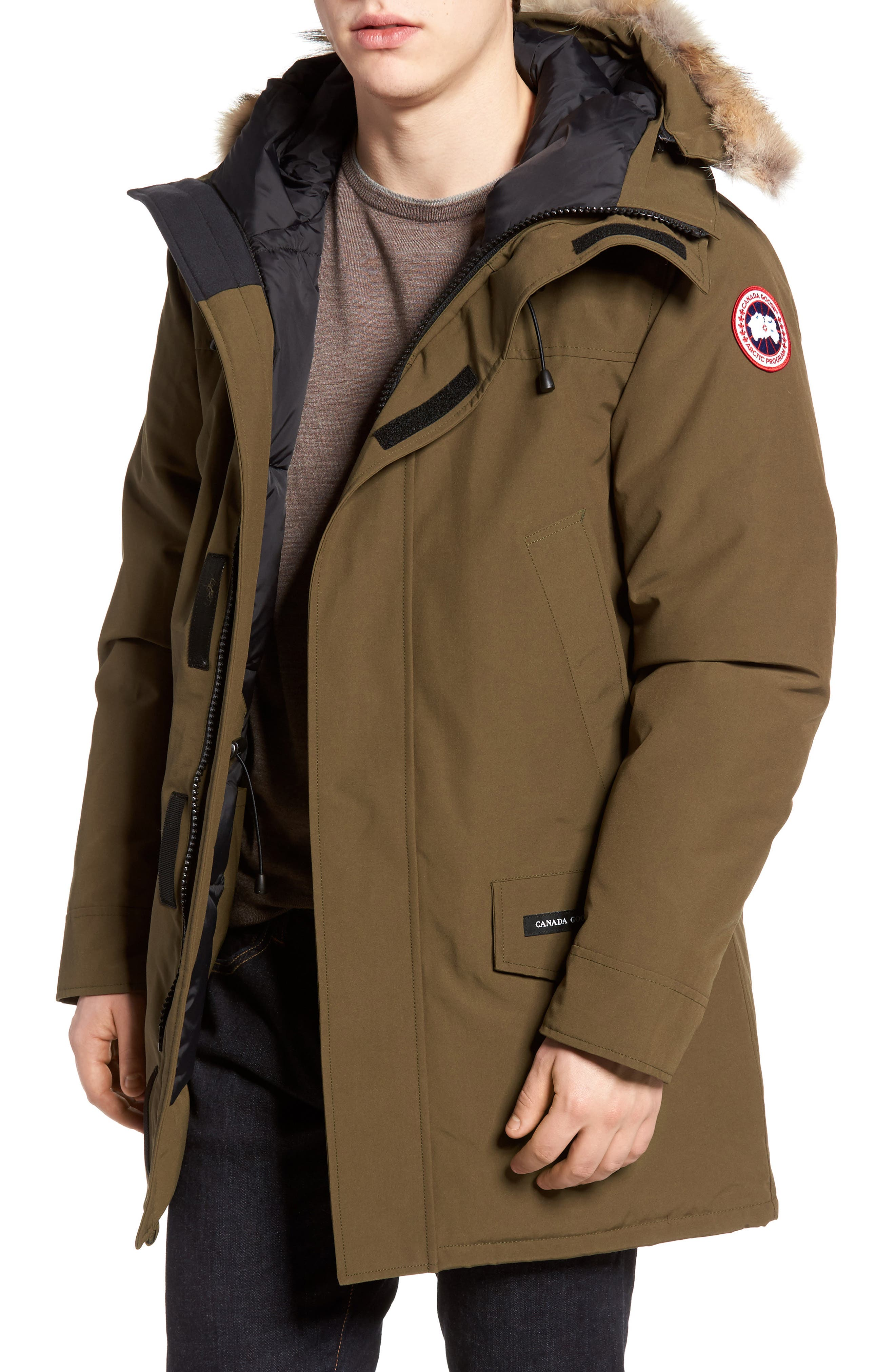 Canada Goose Langford Slim Fit Down Parka With Genuine Coyote Fur Trim, Green