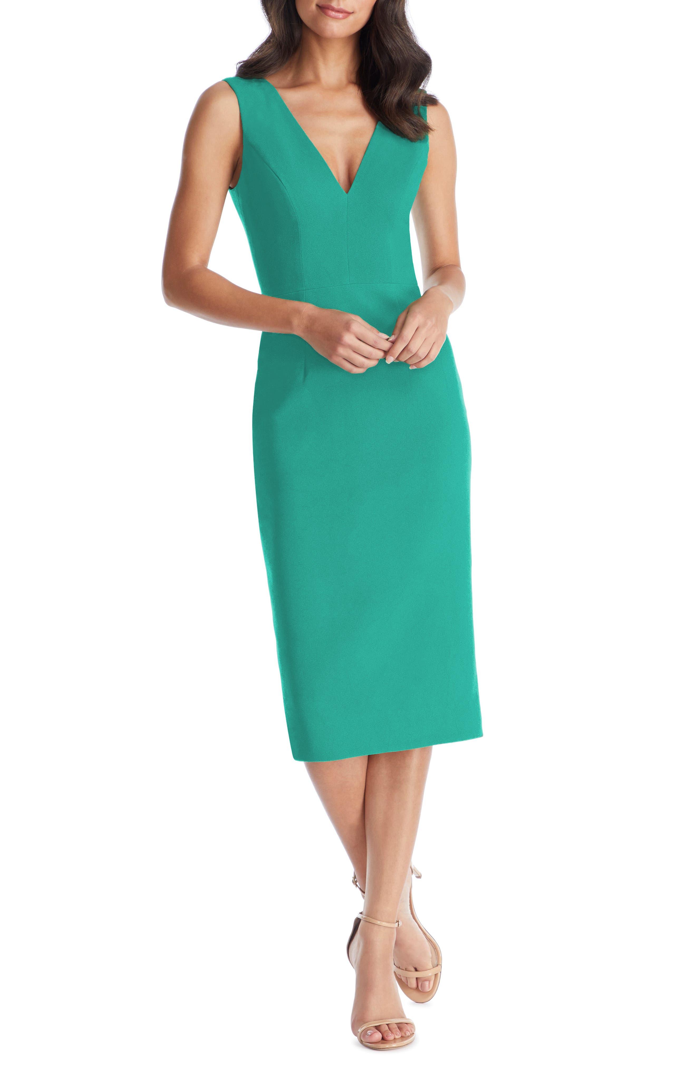 Dress The Population Sandy Plunge Neck Stretch Crepe Sheath Dress, Green