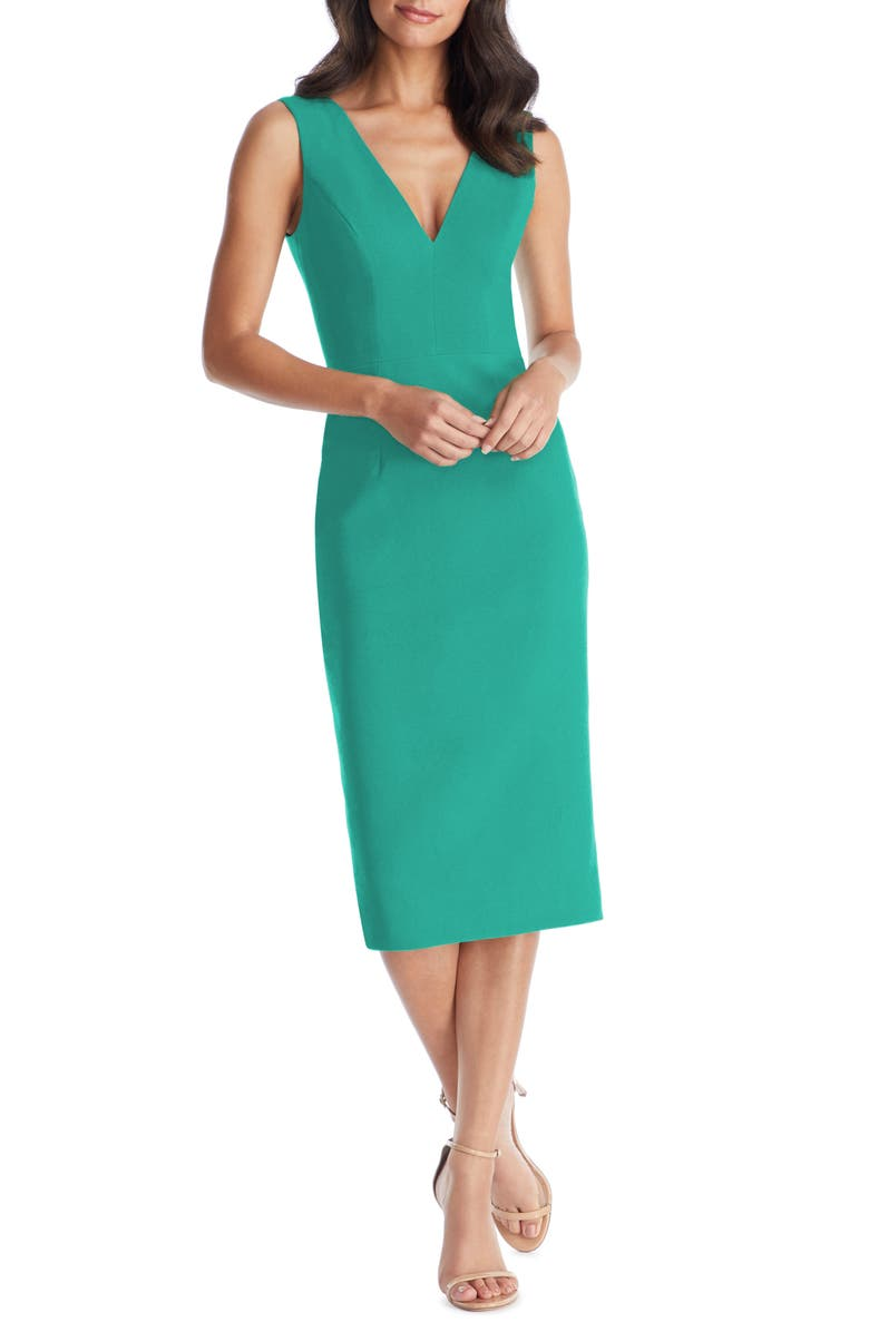 edf17c842 Dress the Population Sandy Plunge Neck Stretch Crepe Sheath Dress ...
