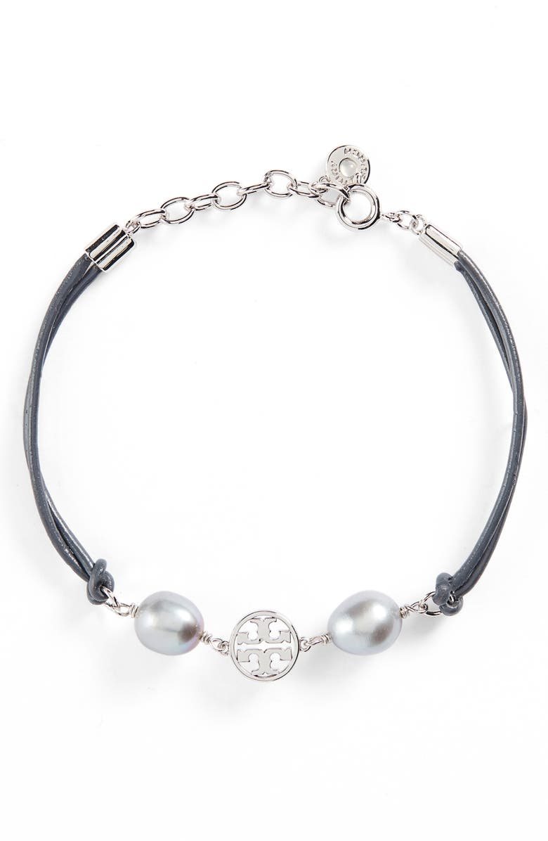 TORY BURCH Logo Pearl Bracelet, Main, color, 040