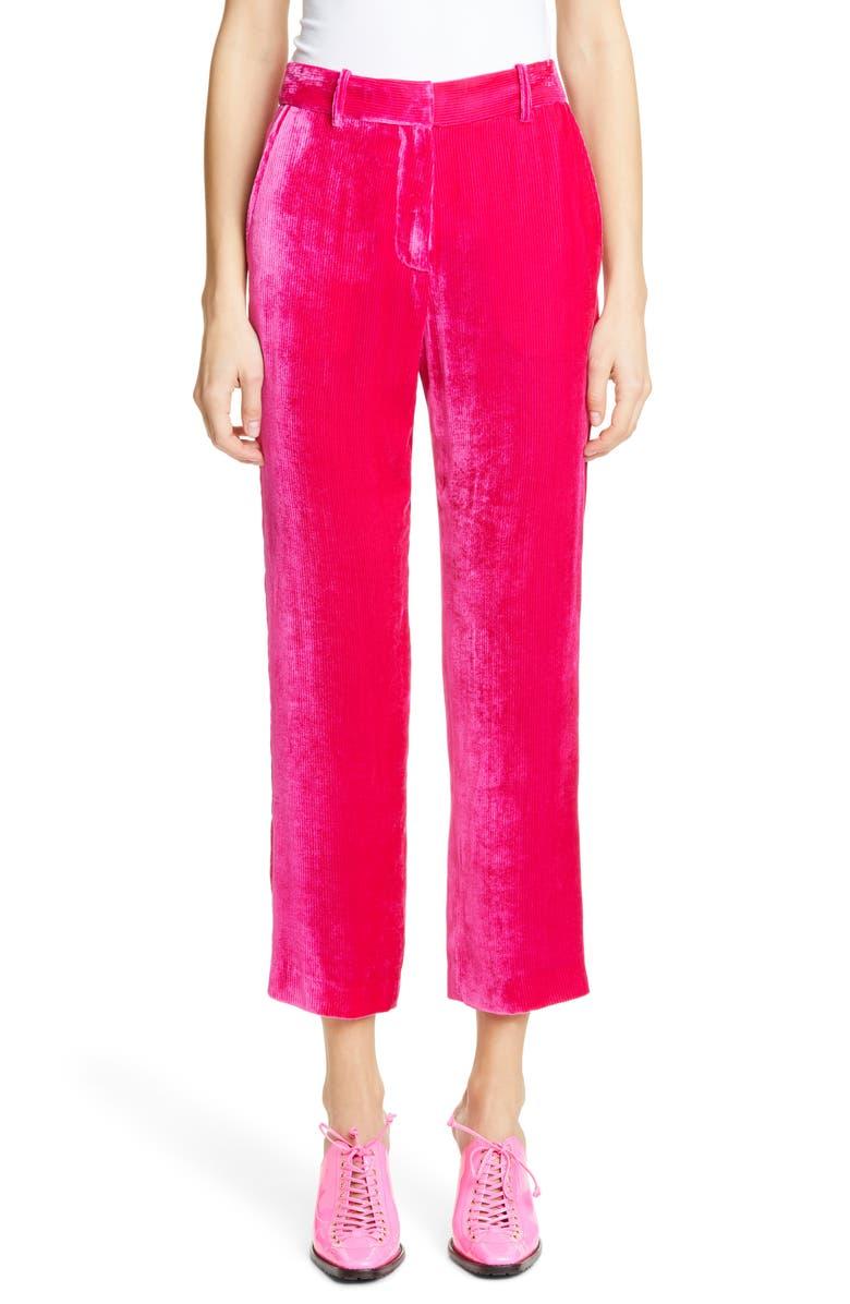 SIES MARJAN Silk Blend Corduroy Crop Pants, Main, color, FUCHSIA