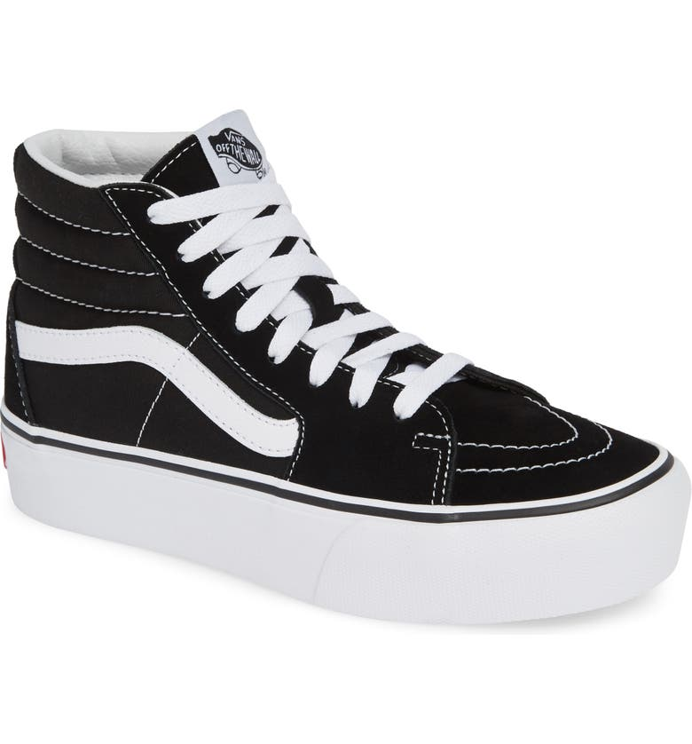 VANS Sk8-Hi Platform Sneaker, Main, color, BLACK/ TRUE WHITE