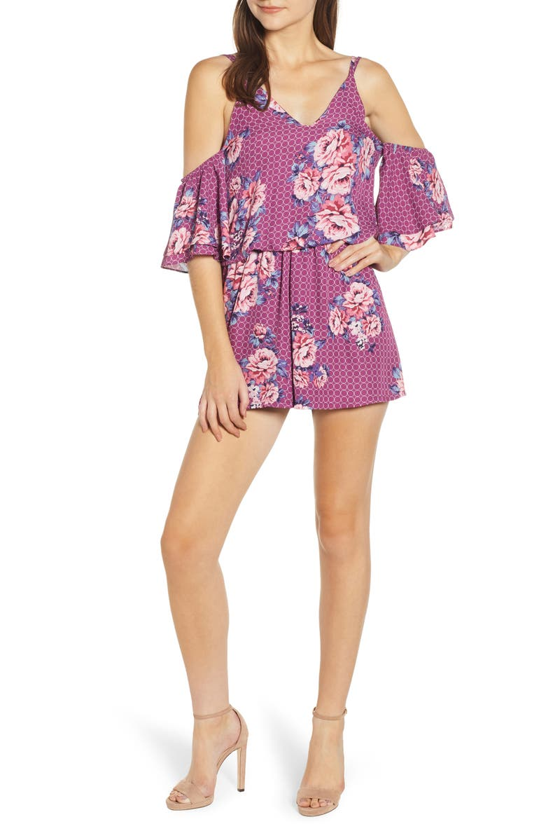 SENTIMENTAL NY Concentric Floral Romper, Main, color, ORCHID