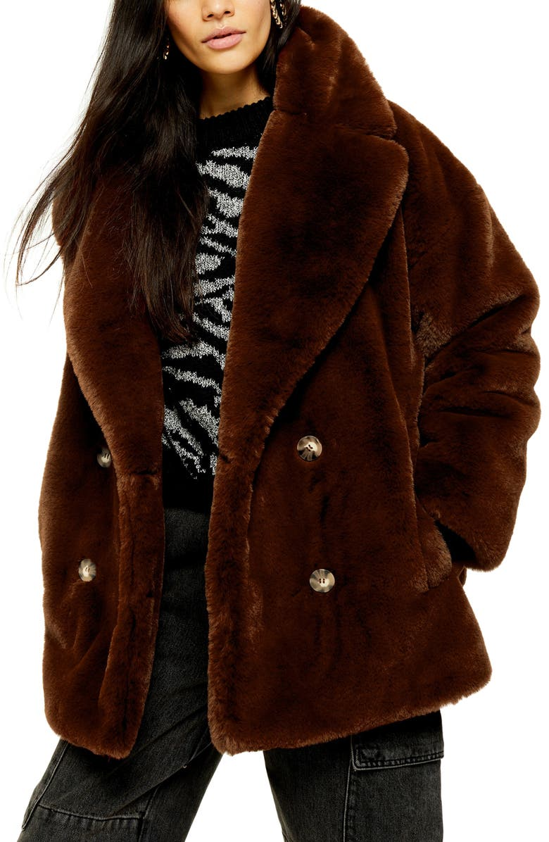 TOPSHOP Ally Faux Fur Double Breasted Jacket, Main, color, BROWN
