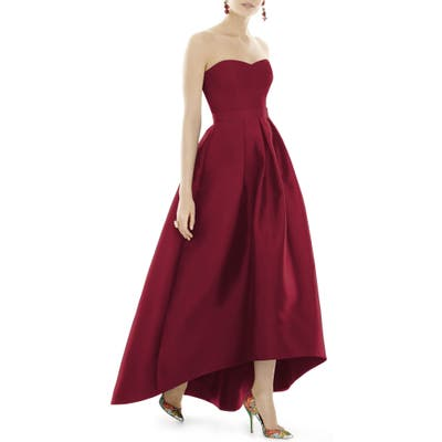 Plus Size Alfred Sung Strapless High/low Satin Twill Ballgown, Red