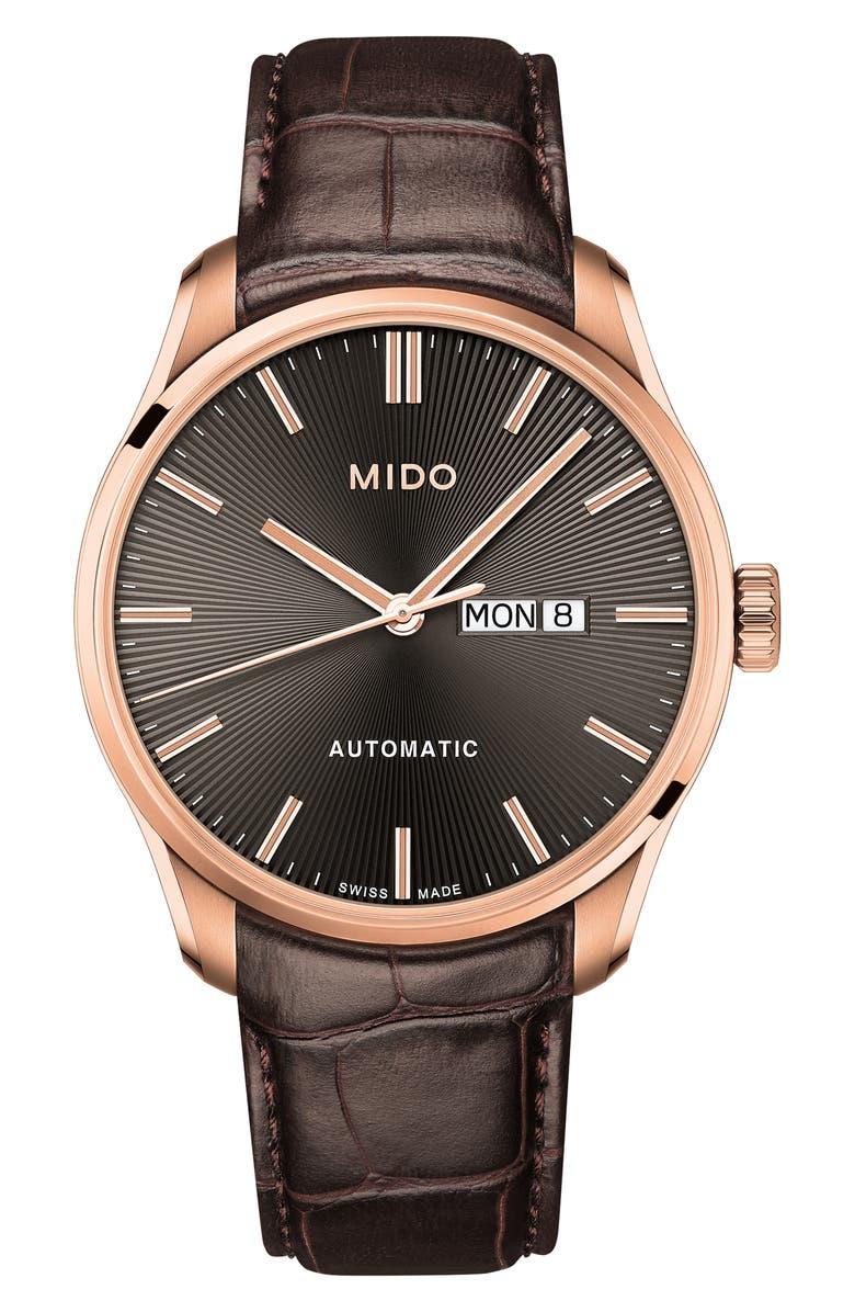 MIDO Belluna II Leather Strap Watch, Main, color, 200