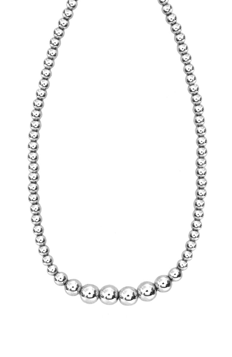 JANE BASCH DESIGNS Jane Basch Graduated Bead Necklace, Main, color, STERLING SILVER