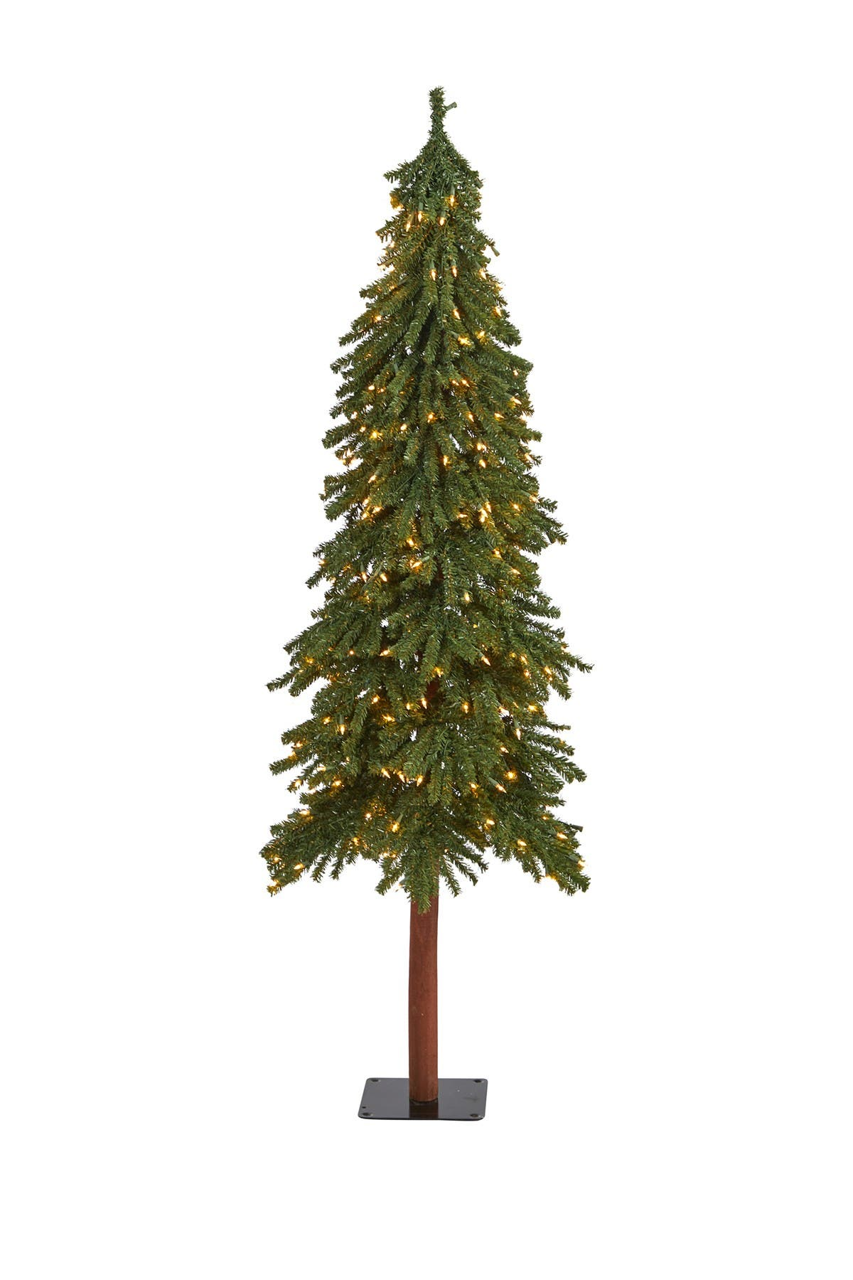 Image of NEARLY NATURAL 6ft. Grand Alpine Artificial Christmas Tree with 300 Clear Lights on Natural Trunk