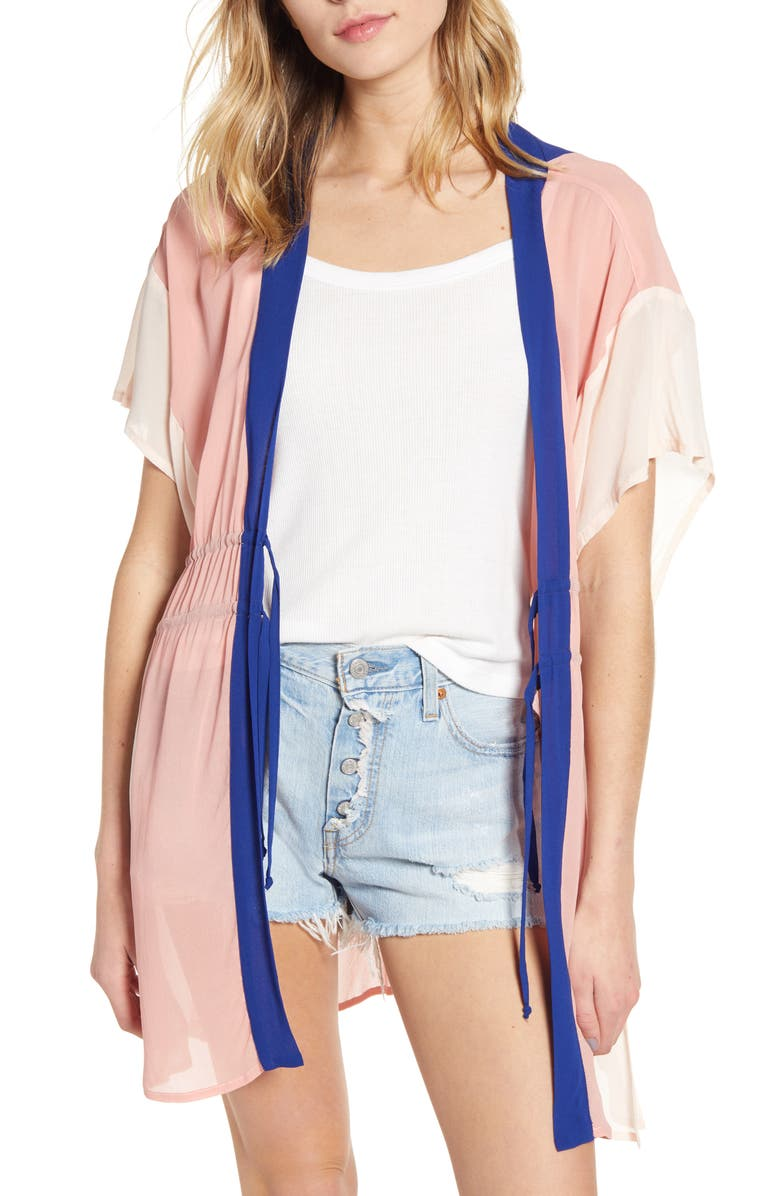 NEW FRIENDS COLONY Rainbow Kaftan Mini Topper, Main, color, PINK/ PINK/ BLUE COMBO