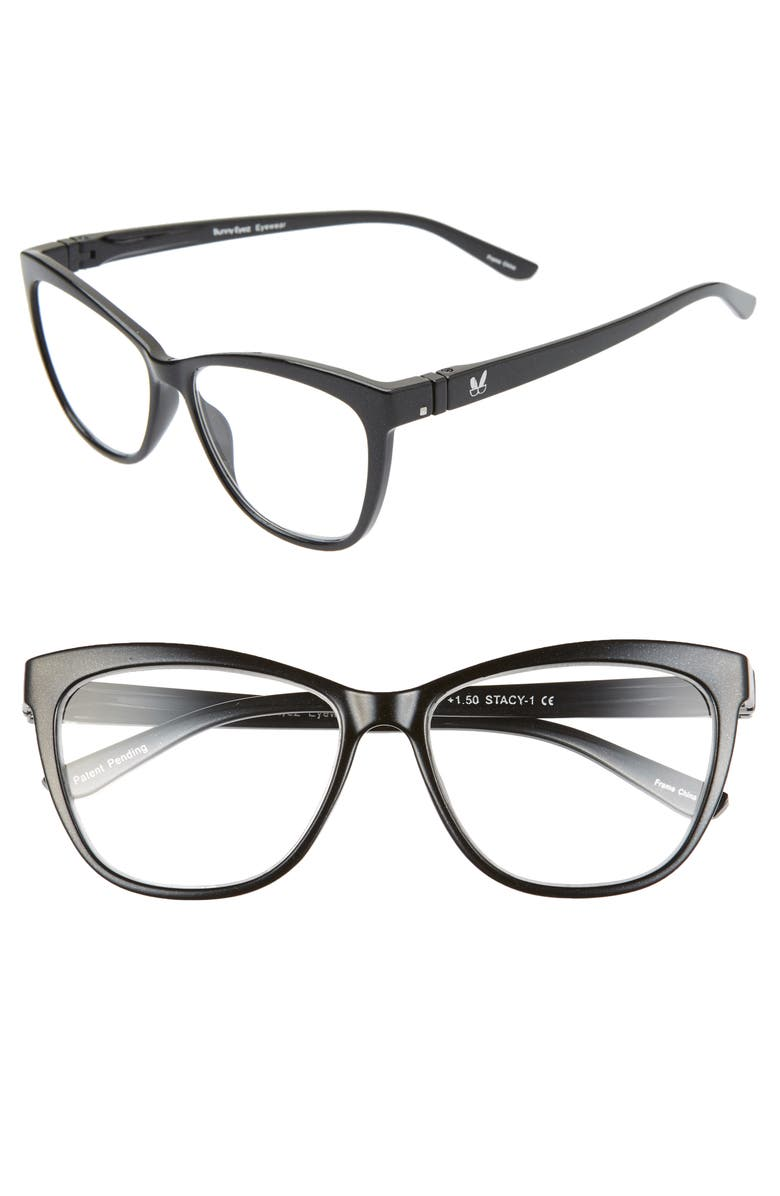 BUNNY EYEZ The Stacy 49mm Reading Glasses, Main, color, BLACK