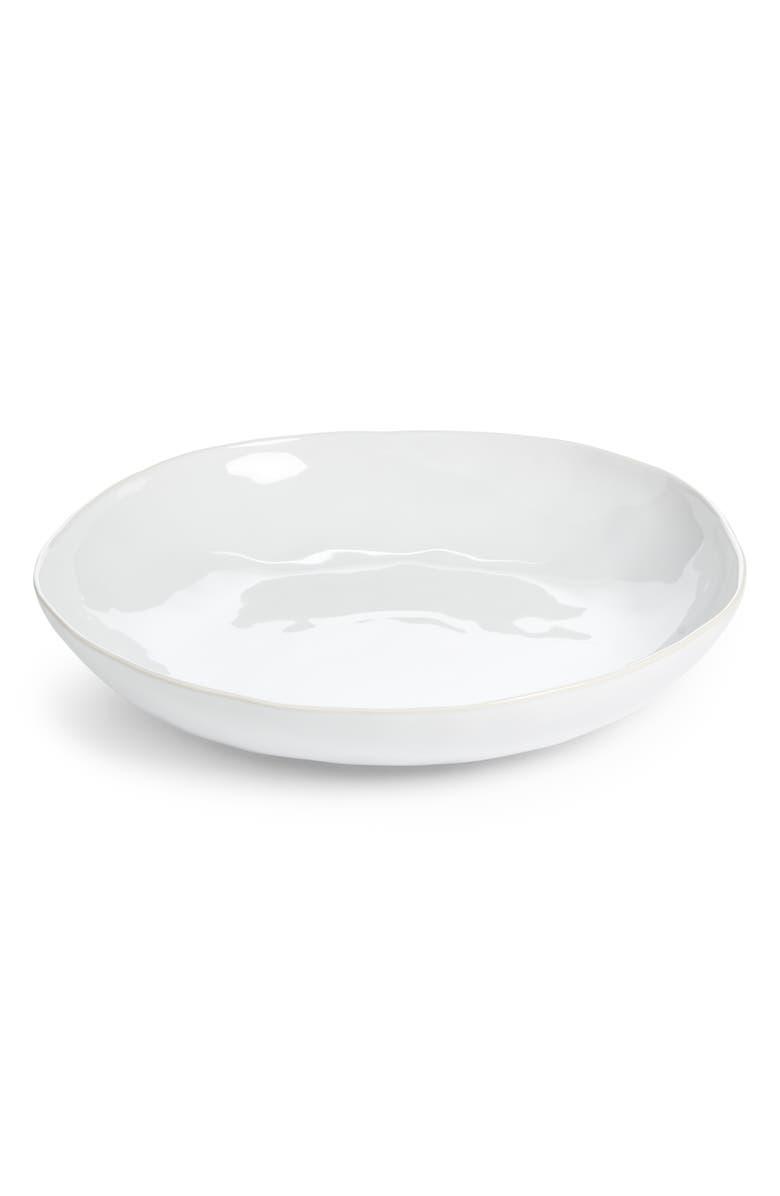 THE WHITE COMPANY Portobello Low Serving Bowl, Main, color, WHITE