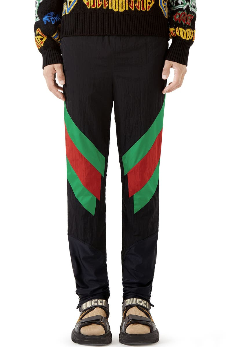 GUCCI Stripe Track Pants, Main, color, BLACK