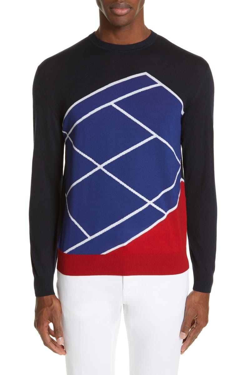 Z ZEGNA TECHMERINO<sup>™</sup> Intarsia Extra Slim Fit Sweater, Main, color, 408