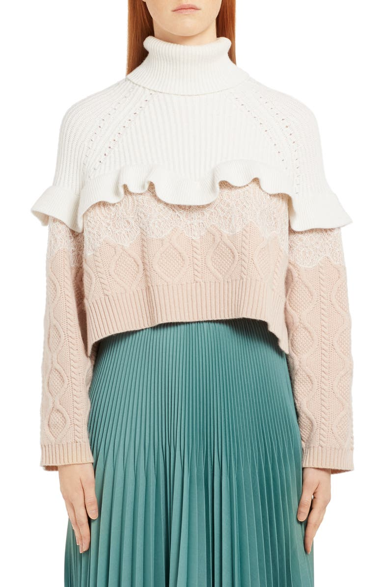 5aed90de Fendi Lace Trim Mixed Stitch Wool & Cashmere Sweater | Nordstrom
