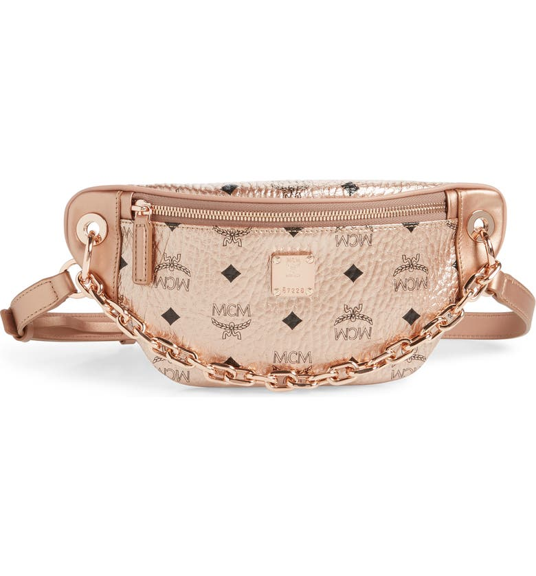 MCM Mini Essential Visetos Coated Canvas Belt Bag, Main, color, CHAMPAGNE GOLD