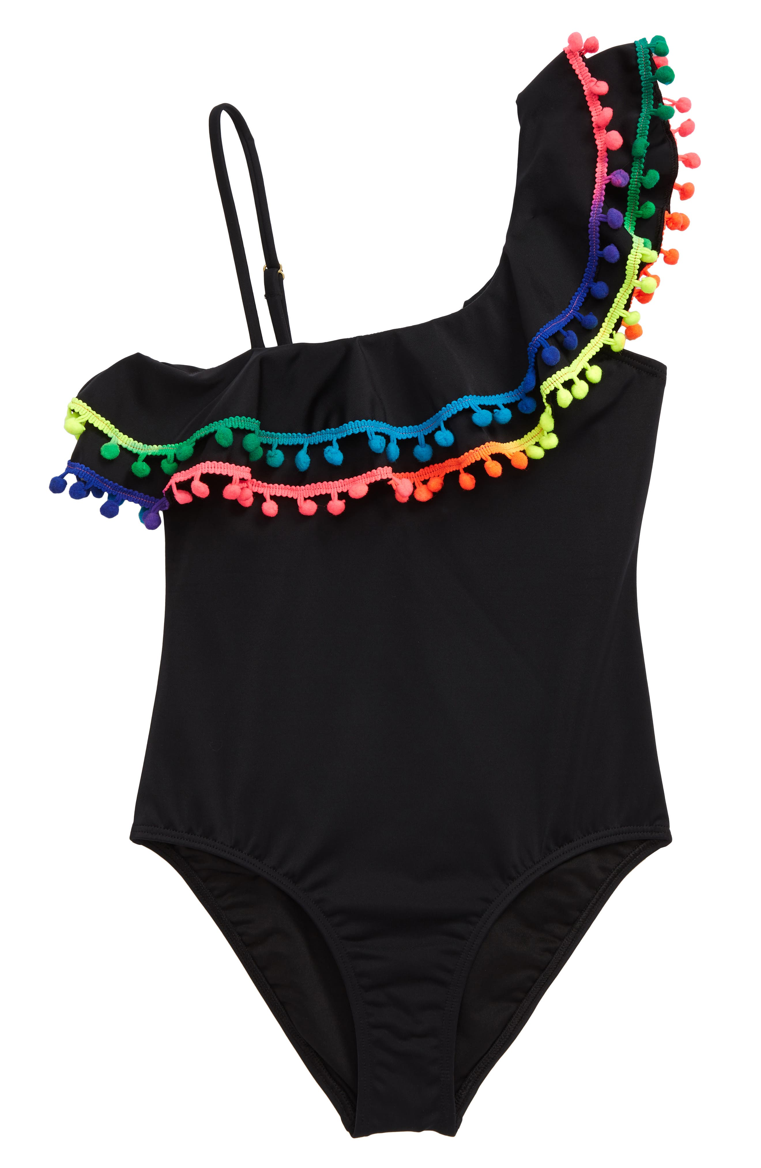 Image of Heart and Harmony Pompom Ruffle One-Piece Swimsuit