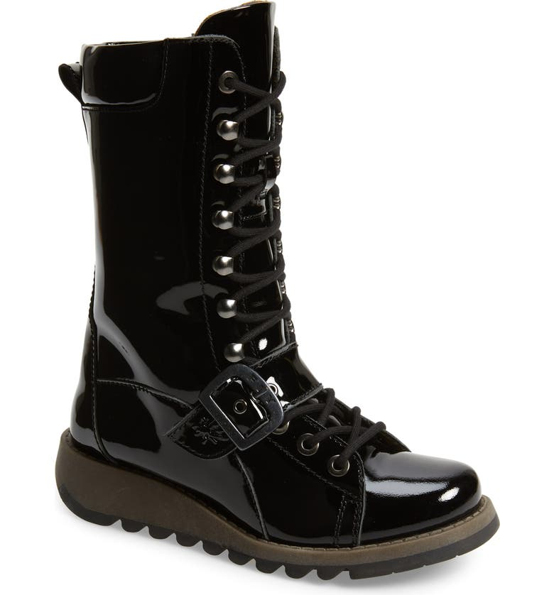 FLY LONDON Selu Lace-Up Boot, Main, color, BLACK LEATHER