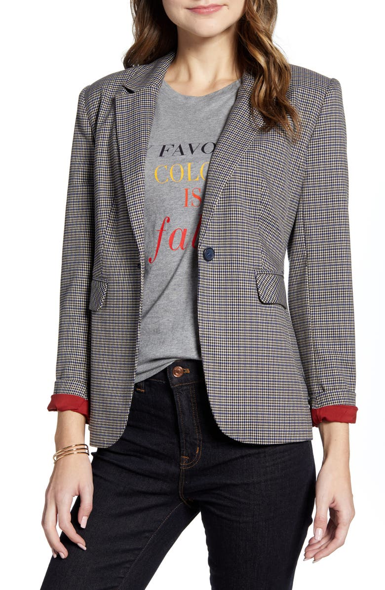 1901 Houndstooth Blazer, Main, color, TAN- BLACK MINI HOUNDSTOOTH