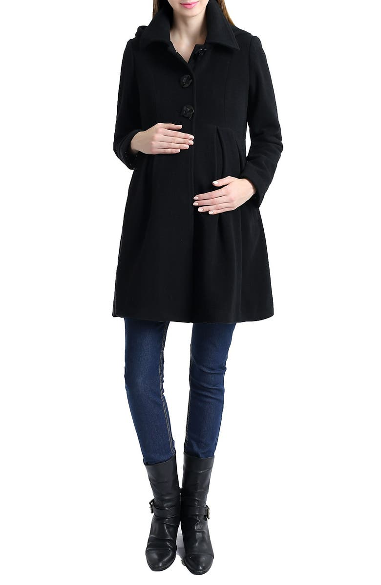 KIMI AND KAI Faye Hooded Wool Blend Maternity Peacoat, Main, color, 001