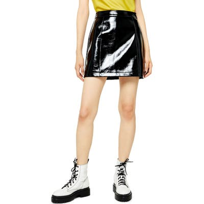 Topshop High Waist Vinyl Miniskirt, US (fits like 2-4) - Black