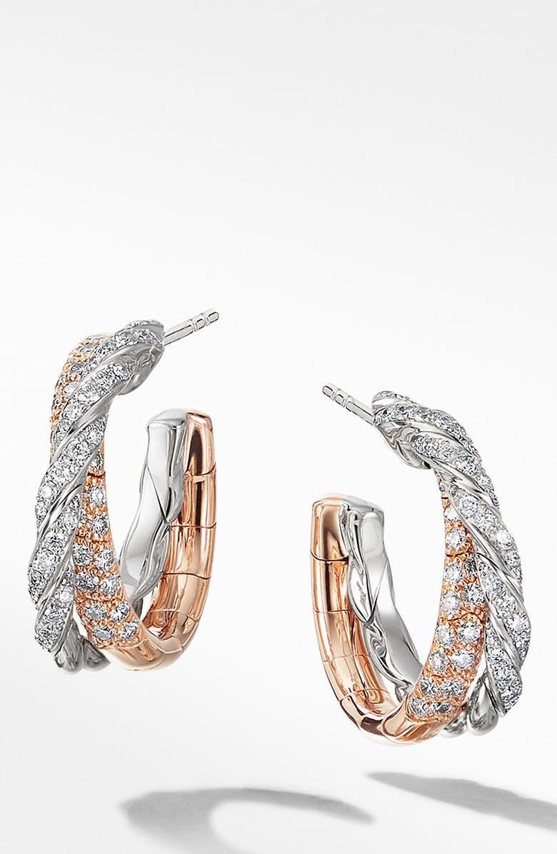 DAVID YURMAN Pavéflex Petite Hoop Earrings with Diamonds in 18K Rose Gold, Main, color, ROSE/ WHITE GOLD / DIAMOND