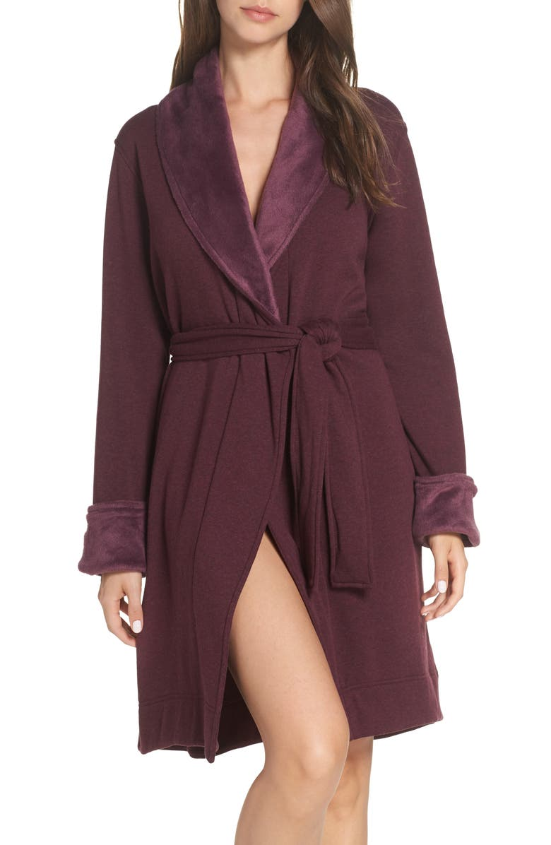UGG<SUP>®</SUP> Blanche II Short Robe, Main, color, PORT HEATHER