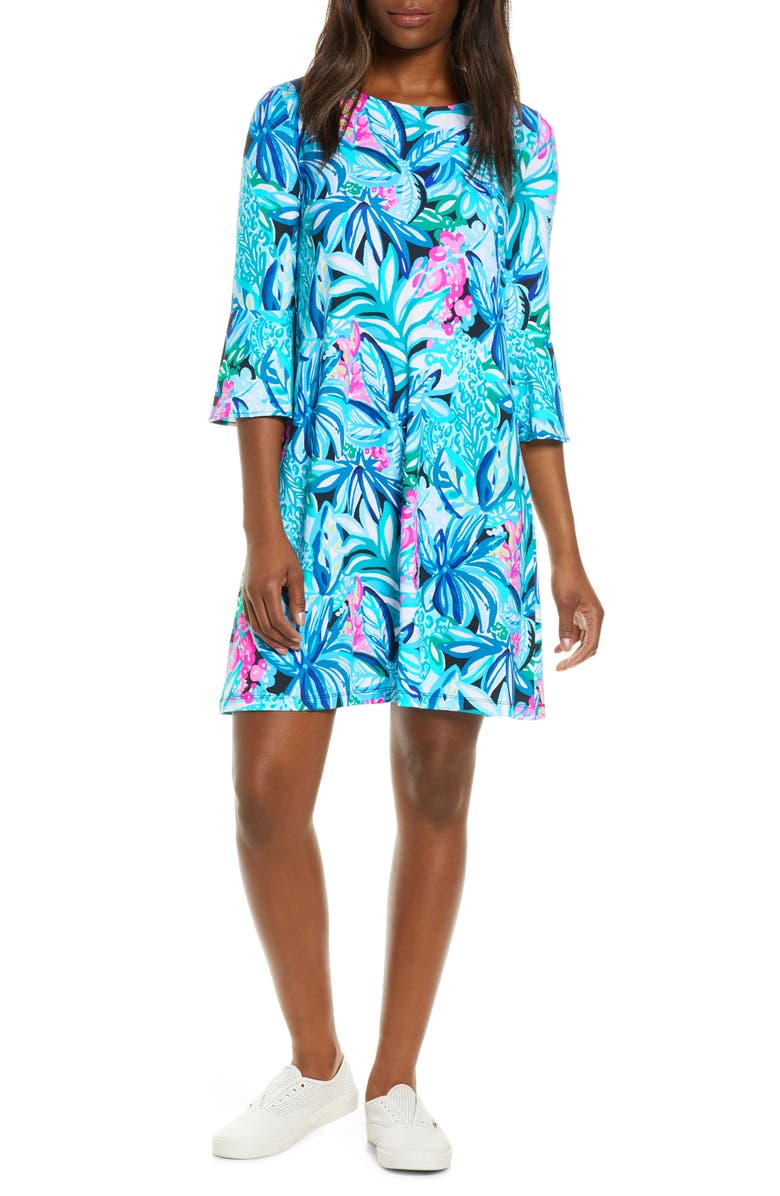 LILLY PULITZER<SUP>®</SUP> Ophelia Floral A-Line Dress, Main, color, MALDIVES GREEN HYPE IT UP