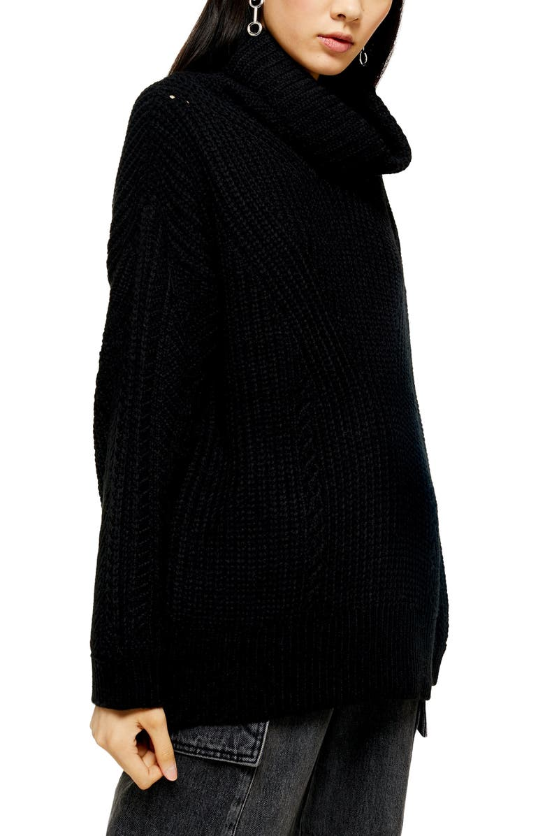 TOPSHOP Turtleneck Sweater, Main, color, BLACK