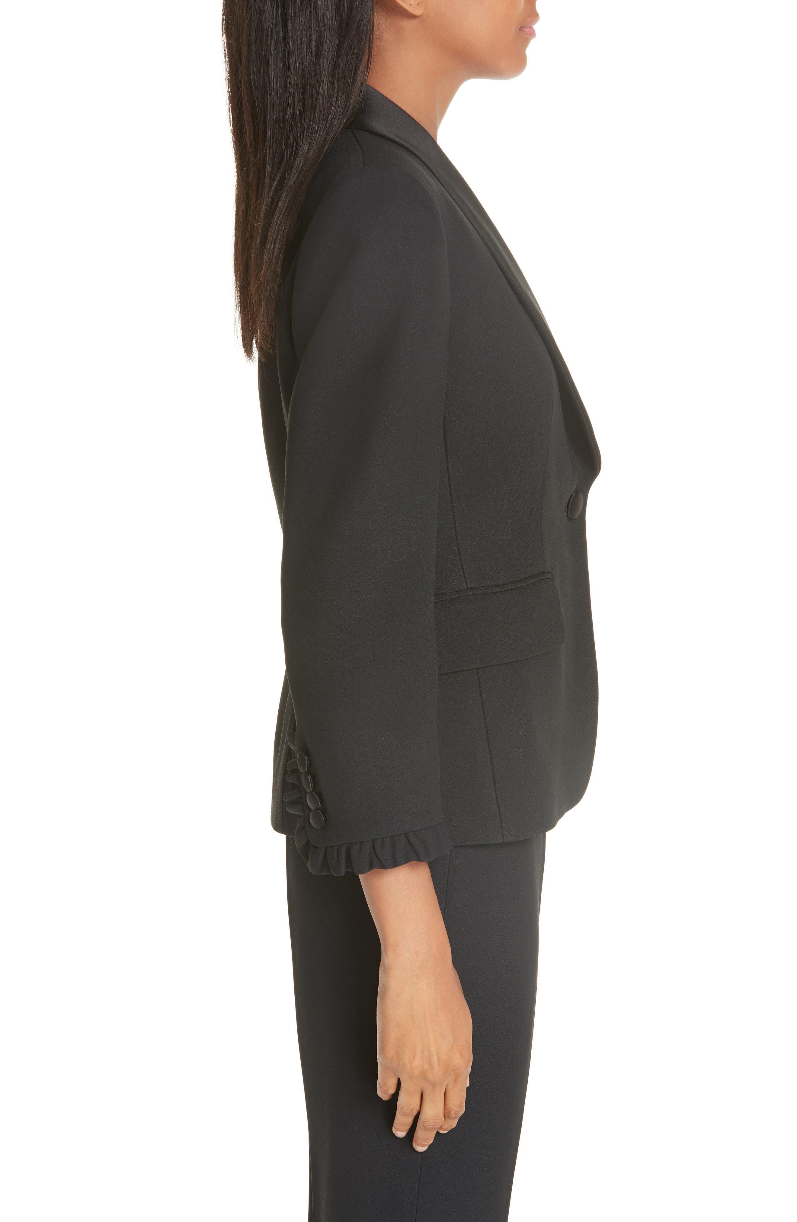 ,                             Ruffle Cuff Double Crepe Sable Tuxedo Jacket,                             Alternate thumbnail 3, color,                             BLACK