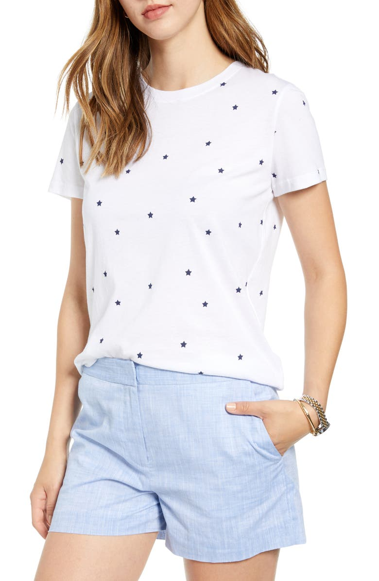 1901 Stars Cotton Blend Tee, Main, color, 100
