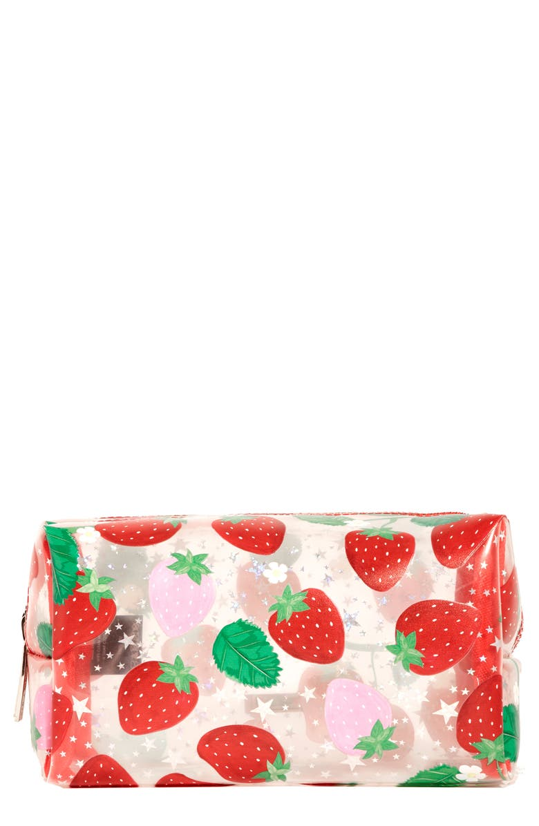 SKINNYDIP Strawberry Makeup Bag, Main, color, STRAWBERRY